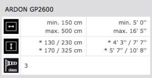 Technische Daten Ardon GP2600
